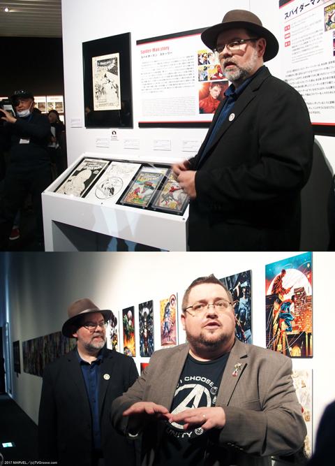 プレスツアーではマーベル社のトム・ブリーヴォートとC.B.セブルスキーによって解説が行われた。 またプレスツアーではアベンジャーズの意外な誕生秘話も聞くことができた。「X-MEN #1」と「Avengers #1」は同日にデビューを果たしたコミックだが、当初は「X-MEN」と「デアデビル」が同日に発売される予定だったという。しかし、「デアデビル」の作者が納期に間に合わせることができず、スタン・リーが思いついたのが、既存のヒーローたちを集合させたアベンジャーズだったという