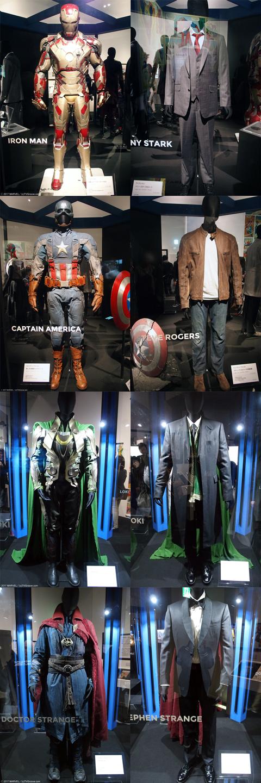(上から)アイアンマン、キャプテン・アメリカ、ロキ、ドクター・ストレンジ。 ヒーローコスチュームと私服を一緒に展示してあるのには、スーパーヒーローにも人間の面があるということを知っていただきたいという想いから。そしてマーベルはヒーローとしてではなく、生身の人間として描いたことで人気を博していった。読者はヒーローの悩みや葛藤に共感し、個人的なつながりを持つようになった。