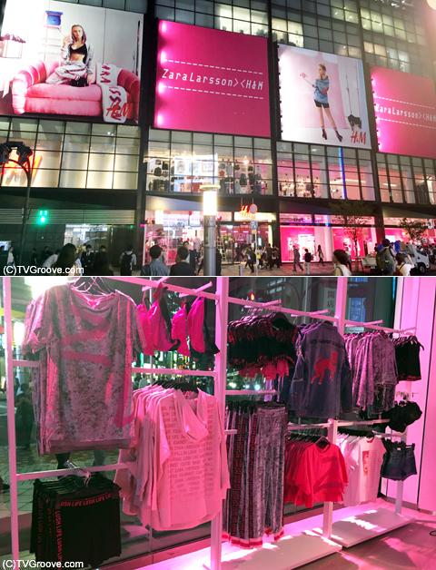 「H&M」の外も中もザラ一色に!ピンクでライトアップされていてとってもかわいい!