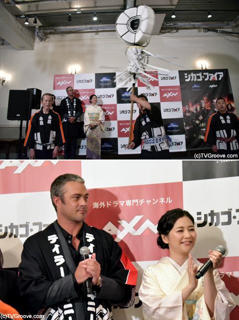 """日本の消防士=火消の""""木遣り歌""""が披露される場面も 「日本火消し保存会」のパフォーマンスを真剣な表情で見守るテイラー"""