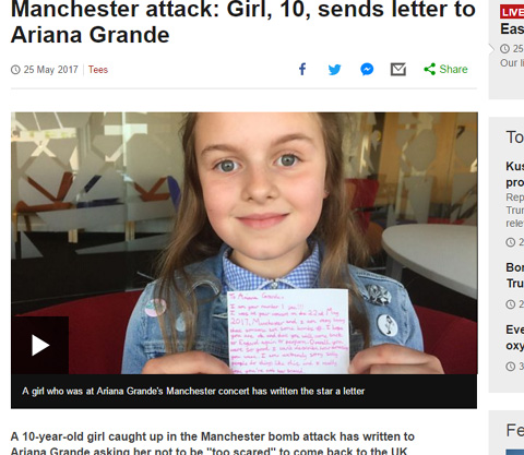 【マンチェスター爆弾テロ】アリアナ・グランデのコンサートに参加した10歳のファンが、アリアナへ手紙を書く 「またイギリスへ来てね」