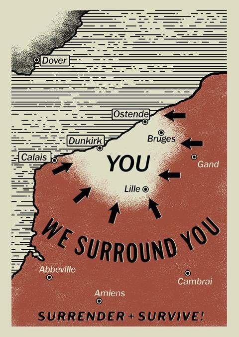 劇中で、ドイツ軍が「我々は君たち(YOU)を包囲した」と英仏連合軍兵士に投降を促した際に空から撒いたMAP