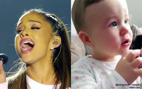 アリアナ・グランデと感動する赤ちゃん