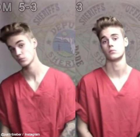 ジャスティンが公開した、かつての逮捕写真