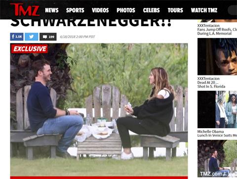 ピクニックデートをするクリス・プラットとキャサリン・シュワルツェネッガーさん