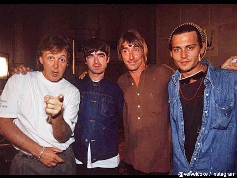 左からポール・マッカートニー、ノエル・ギャラガー(オアシス)、ポール・ウェラー、ジョニー・デップ