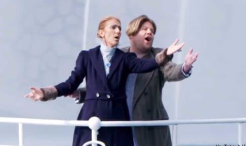 「タイタニック」のパロディをするセリーヌ・ディオンと、ジェームズ・コーデン