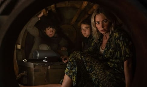 "L-r, Marcus (Noah Jupe), Regan (Millicent Simmonds), and Evelyn (Emily Blunt) brave the unknown in ""A Quiet Place Part II."""