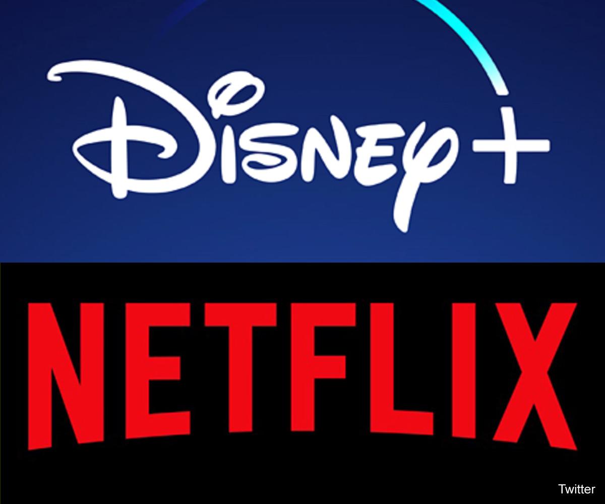 「Disney+」と「ネットフリックス」ロゴ