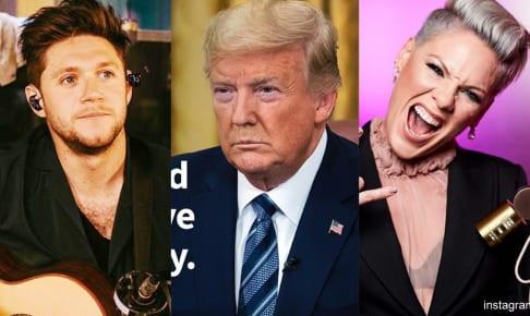 左からナイル・ホーラン、トランプ大統領、ピンク