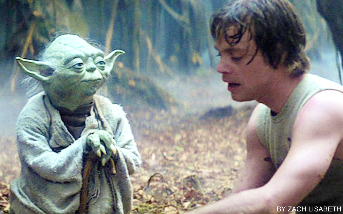 『スター・ウォーズ エピソード5:帝国の逆襲』で、ルークがヨーダの修行を受けるシーン