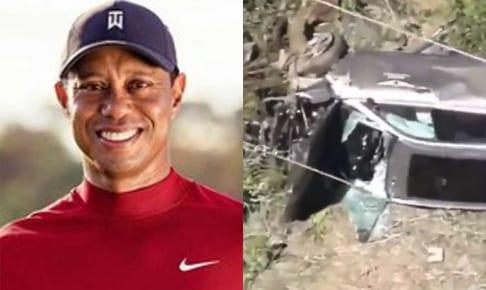 タイガー・ウッズと破損した車