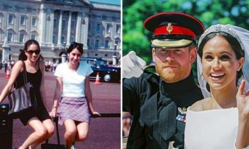 左はメーガン・マークルと元友人(1996年)、右はメーガン妃とヘンリー王子