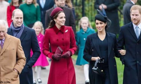左からチャールズ皇太子、ウィリアム王子、キャサリン妃、メーガン妃、ヘンリー王子