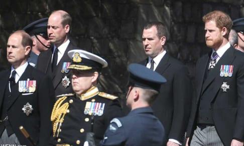 フィリップ殿下の葬儀でのウィリアム王子、ヘンリー王子ら