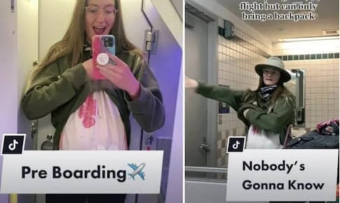 妊婦のフリをして機内に乗り込んだ旅行TikToker